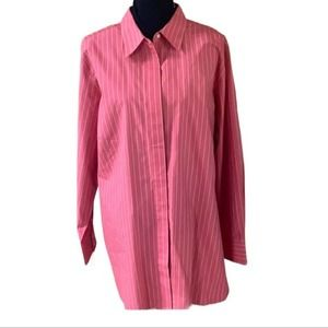 Land's End Pink Striped Button Up Blouse Size 24W